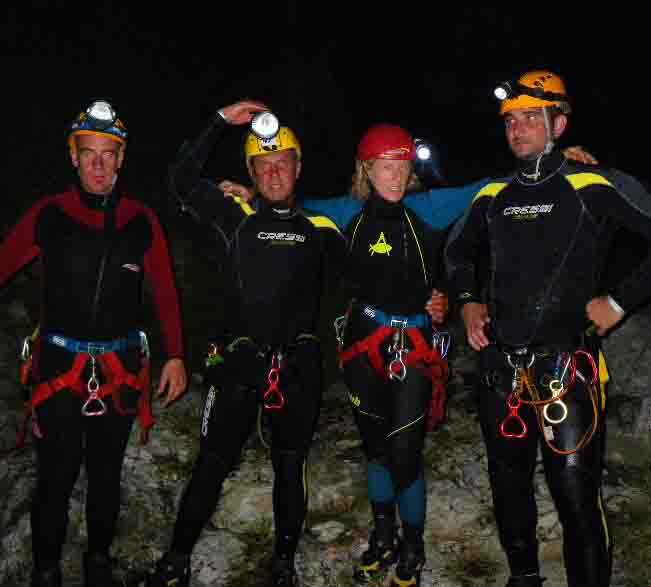 Canyoning in notturna