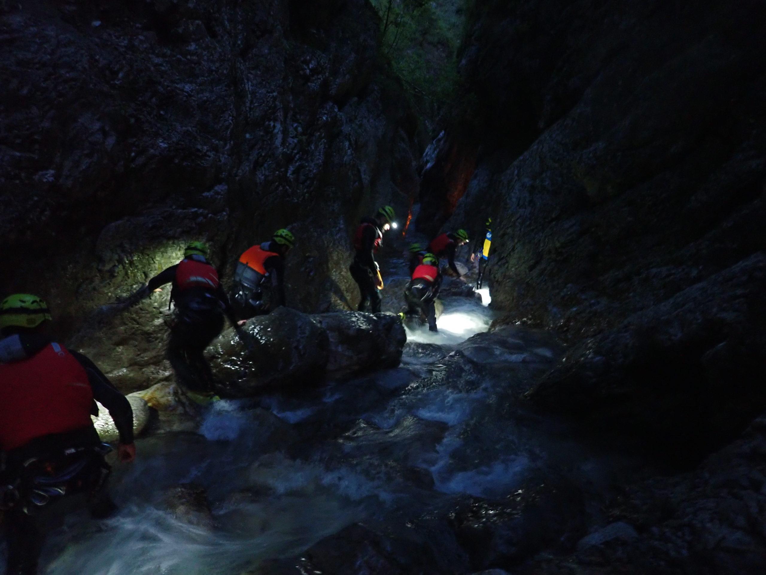 Canyoning at night Night Canyoning Trentino